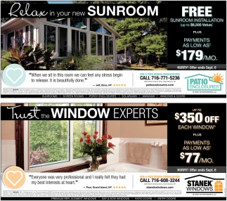 Relax in your new sunroom / Trust the Window Experts