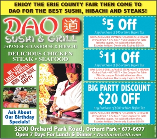 Enjoy the Erie County Fair then come to DAO For the Best Sushi, Hibachi and Steaks!