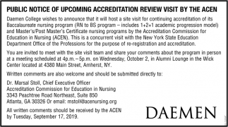 Public Notice of Upcoming Accreditation Review Visit by the Acen