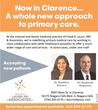 Now In Clarence... A Whole New Approach to Primary Care