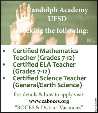 Randolph Academy UFSD is Seeking the Following: