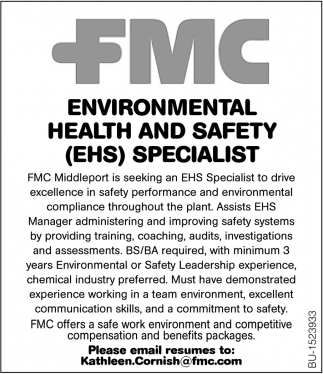 Environmental Health & Safety (EHS) Specialist