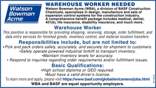 Warehouse Worker Needed