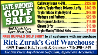 Late Summer Golf Sale