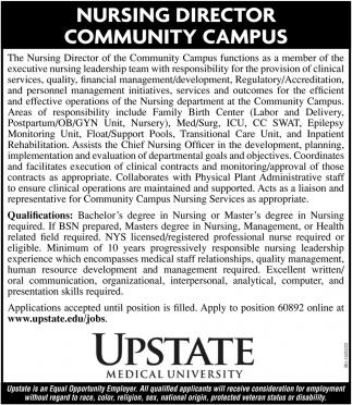 Nursing Director Community Campus, Upstate Medical University