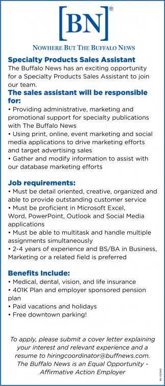 Specialty Products Sales Assistant, The Buffalo News ...