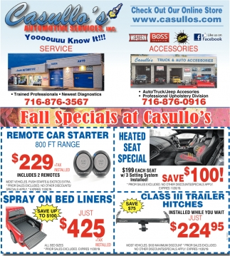 Fall Specials at Casullo's
