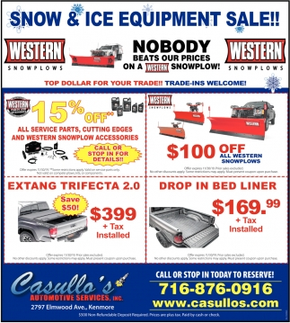 Snow & Ice Equipment Sale!