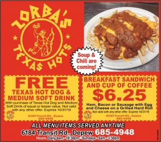 FREE Texas Hot Dog & Medium Soft Drinks