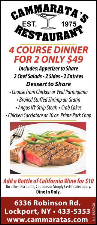 4 Course Dinner for 2 Only $49