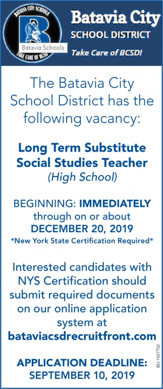 Long Term Substitute Social Studies Teacher