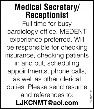 Medical Secretary/ Receptionist