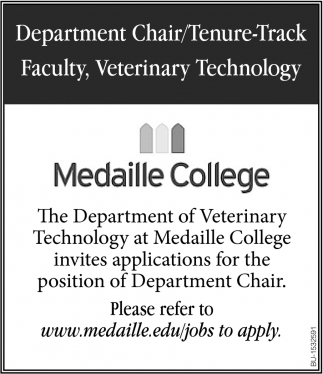 Department Chair/ Tenure-Track Faculty, Veterinary Technology