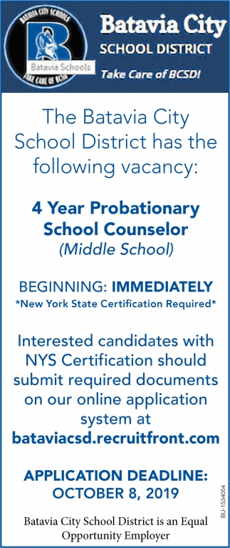 4 Years Probationary School Counselor