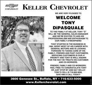 We are Very Pleased to Welcome Tony Dipasquale