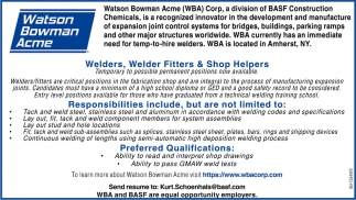 Welders, Welder Fitters & Shop Helpers