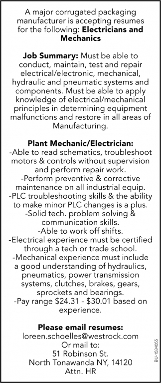 Electricians & Mechanics
