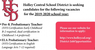 Seeking Candidates for the Following Vacancies for the 2019-2020 School Year