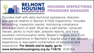 Housing Inspections Programs Manager