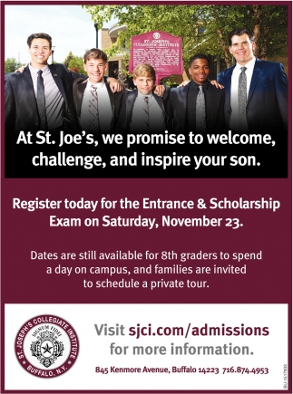 At St. Joe's, We Promise to Welcome, Challenge, and Inspire Your Son