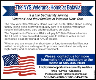 126 Bed Facility Serving Veterans' and Their Families of Western New York
