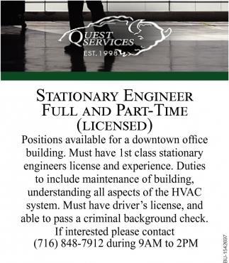 Stationary Engineer , Quest Services Inc, Tonawanda, NY