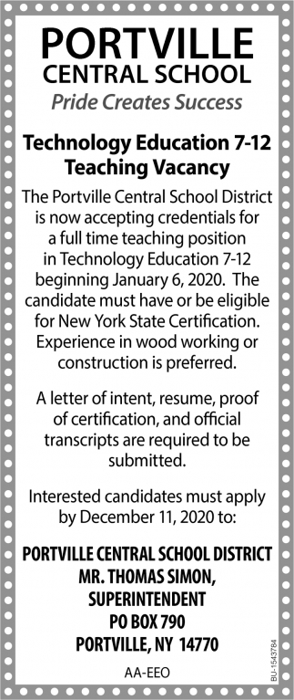 Technology Education 7-12 Teaching Vacancy