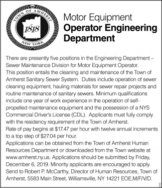 Motor Equipment Operator Engineering Department