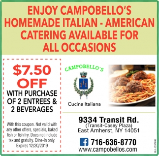 Enjoy Campobello's Homemade Italian - American Catering Available for All Occasions