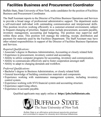 Facilities Business & Procurement Coordinator