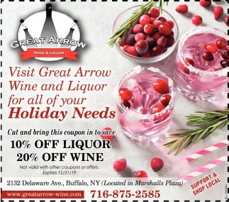 Visit Great Arrow Wine & Liquor for All of Your Holiday Needs