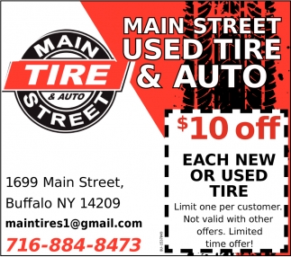 $10 OFF Each New or Used Tire