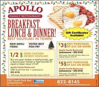Breakfast, Lunch & Dinner!