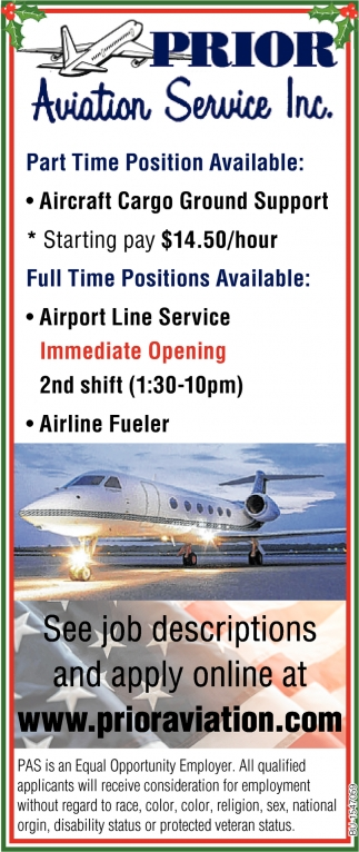 Part and Full Time Positions Available
