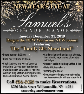New Year's Eve at Samuel's Grande Manor