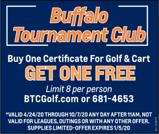 Buy One Certificate for Golf & Cart Get One Free