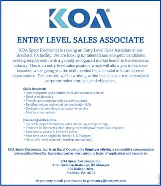 Entry Level Sales Associate
