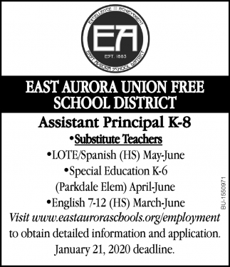 Job Openings for Assistant Principal and Substitute Teachers