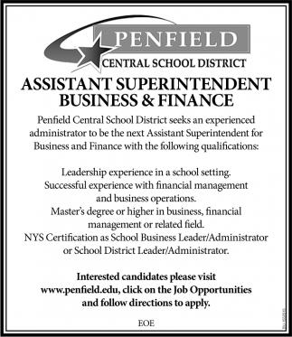 Assistant Superintendent Business & Finance