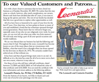 To Our Valued Customers and Patrons...