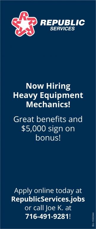 Now Hiring Heavy Equipment Mechanics!