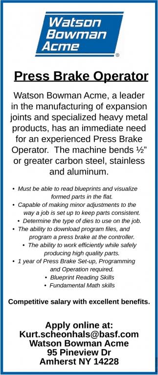 Press Brake Operator