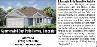 S. Lancaster Patio Homes New Available