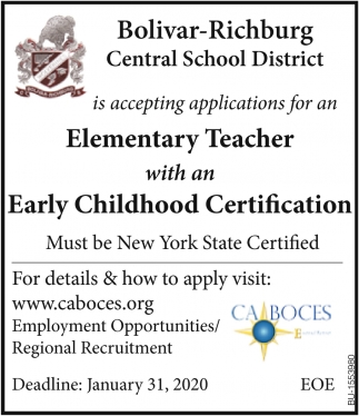 Elementary Teacher with an Early Childhood Certification