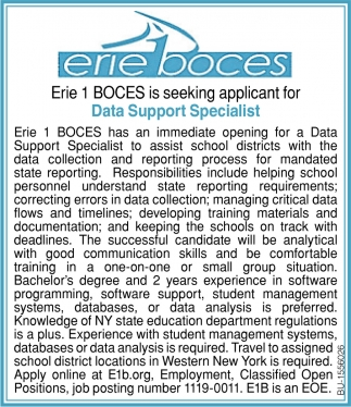 Erie 1 Boces is Seeking Applicant for Data Support Specialist