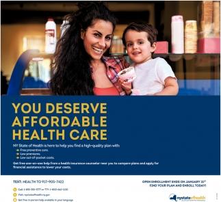 You Deserve Affordable Health Care