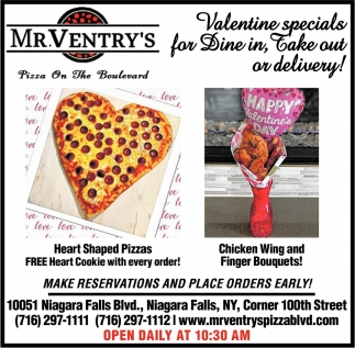 Valentine Specials for Dine in, Take Out or Delivery!