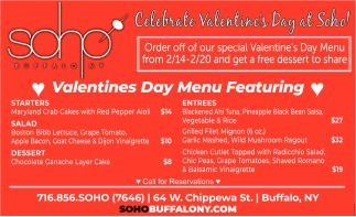 Valentines Day Menu Featuring