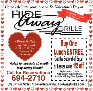 Come celebrate your love on St. Valentine's Day