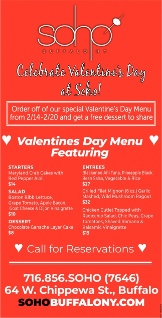 Celebrate Valentine's Day at Soho!